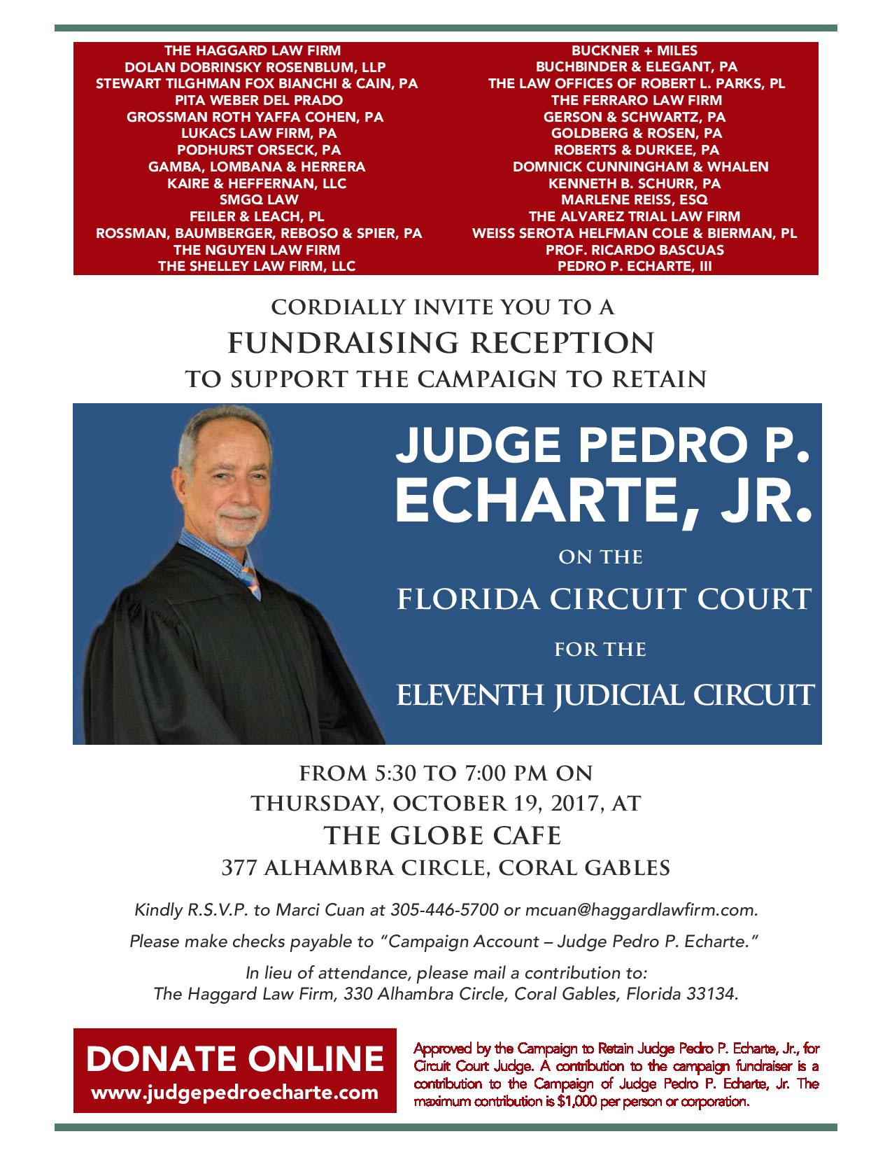 Judge Pedro Echarte, JR Fundraiser Invitation